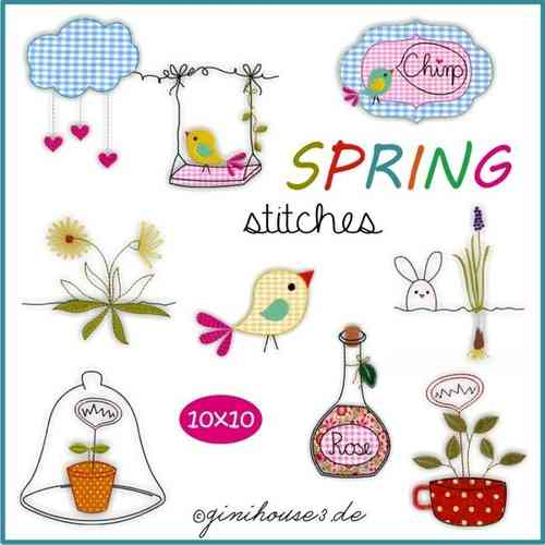 SPRING stitches Stickdateien 10x10