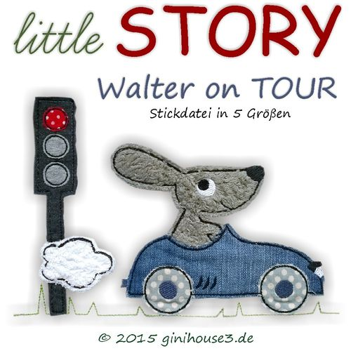 Stickdatei Doodles * Walter on TOUR * 5 Größen