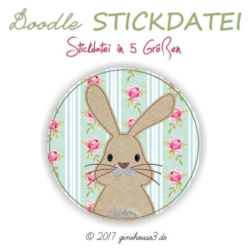 Stickdatei HASE Junge Doodle-BUTTON ab 10x10
