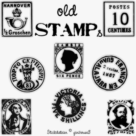 old stamps alte stempel stickdateien im vintage look. Black Bedroom Furniture Sets. Home Design Ideas