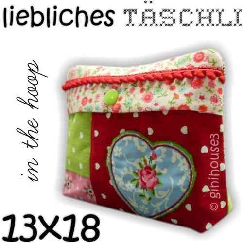 Liebliches TÄSCHLEIN ♥ 13x18 Stickdatei IN THE HOOP
