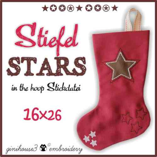 Stiefel STARS ✪ IN THE HOOP Stickdatei 16x26
