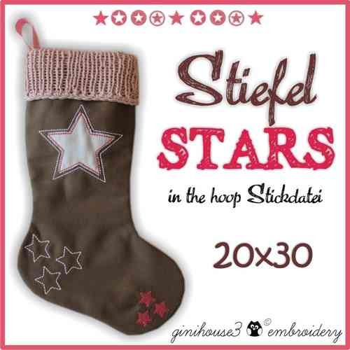 Stiefel STARS ★ IN THE HOOP Stickdatei 20x30