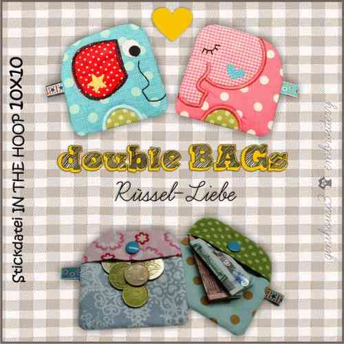 double BAGs ❤ Rüssel-Liebe ❤ Stickdateien 10x10 ITH