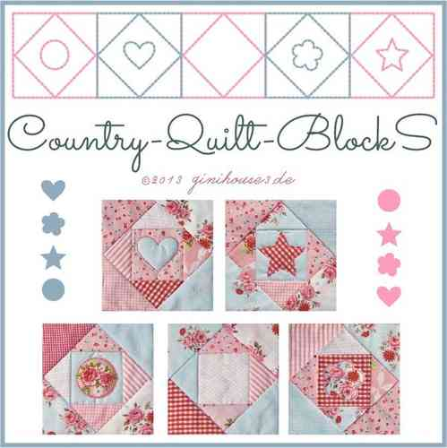 COUNTRY Quilt-BlockS 20 Stickdateien