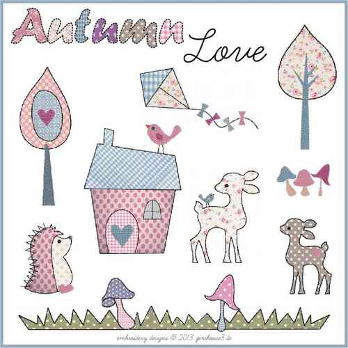Autumn LOVE ❤ Stickdateien ❤ Doodles