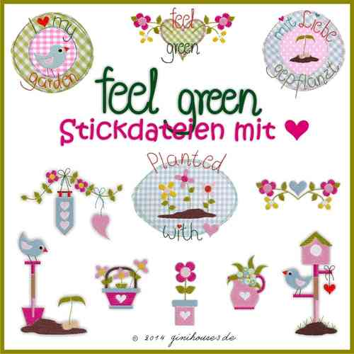 Stickdatei Serie ♥  feel green ♥  10x10