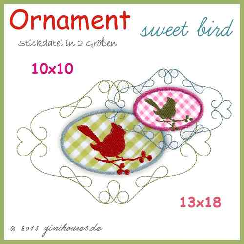Stickdatei * ORNAMENT sweet bird * Vogel