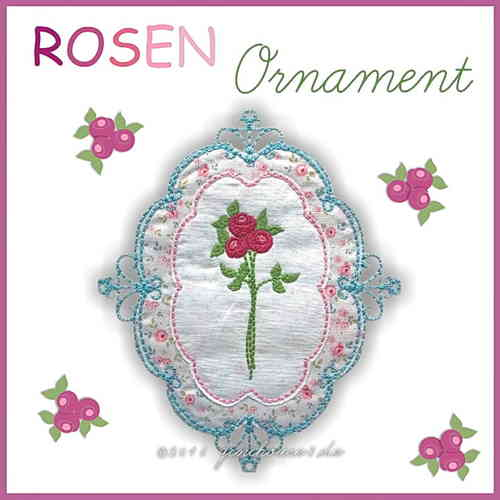 Stickdatei * ORNAMENT mit Rosen * 13x18