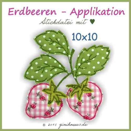 Stickdatei * Erdbeere * Applikation * 10x10