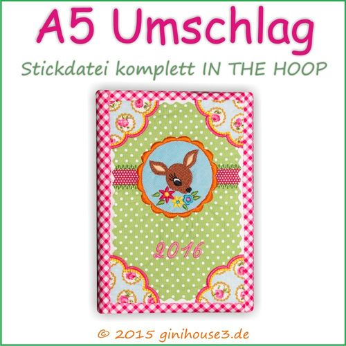 Stickdatei * A5 BuchUmschlag * IN THE HOOP * 18x30 * 20x26