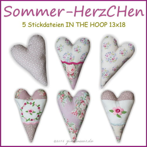 Stickdatei Sommer-HerzCHen IN THE HOOP 13x18