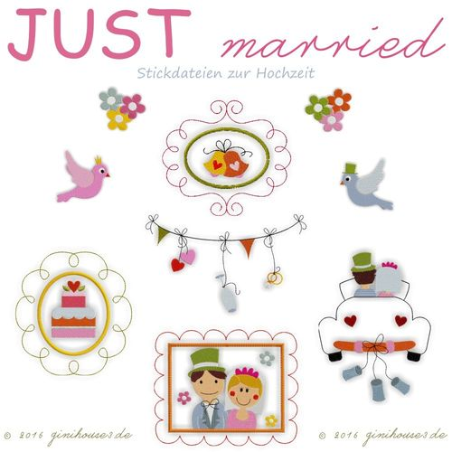 Stickdatei * JUST MARRIED * Hochzeit * 13x18