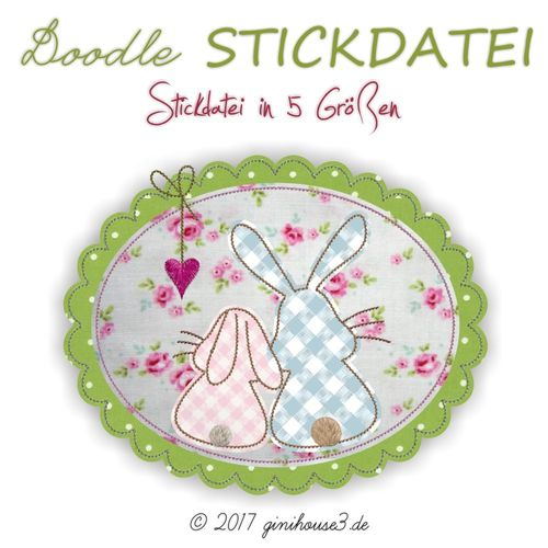 Stickdatei Hasen-Liebe BUTTON