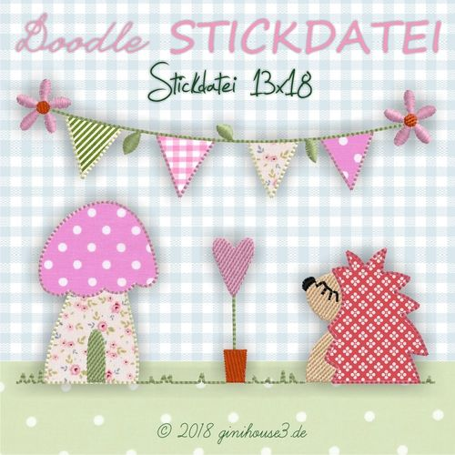 Stickdatei Doodle IGEL AnnaBell 13x18