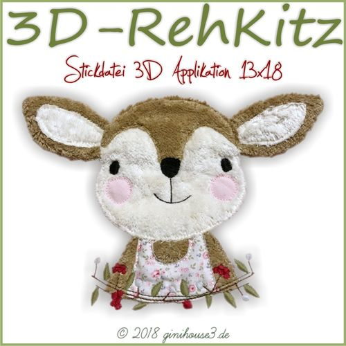 Stickdatei 3D APPLIKATION RehKitz 13x18