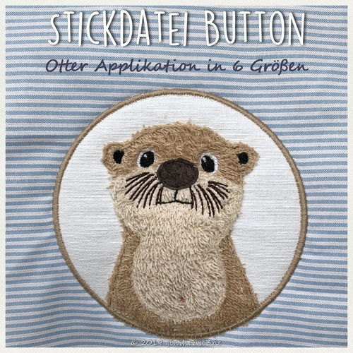 Stickdatei Button mit Otter